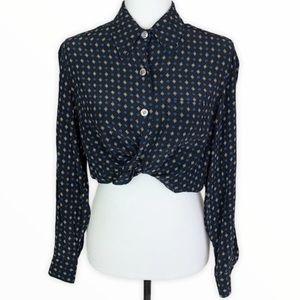 Evan Picone VTG Pointed Collar Printed Shirt Sz 8